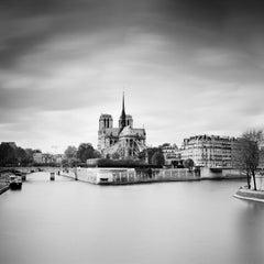 Notre Dame Seine Paris, France, black and white photography, fine art landscapes