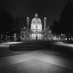 Wiener Karlskirche Night, Vienna, black and white photography, landscape