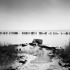 Behind the Fence, Rügen, Germany, black and white photography, landscape