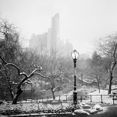 Snow covered Central Park, New York City, black and white photography, landscape
