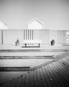 Esplanade, Beach Huts, France, minimalist black and white landscapes, fine art