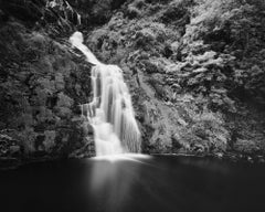 Waterfall, Ireland, black and white art photography, waterscapes, long exposure