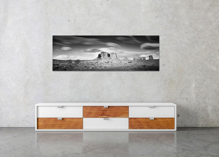 Wild West Panorama, Utah, USA, black & white photography, monument valley prints For Sale 2