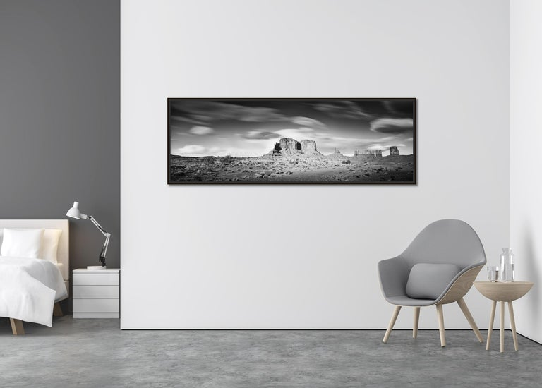 Wild West Panorama, Utah, USA, black & white photography, monument valley prints - Contemporary Photograph by Gerald Berghammer