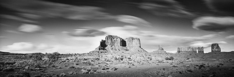 Gerald Berghammer Black and White Photograph - Wild West Panorama, Utah, USA, black & white photography, monument valley prints