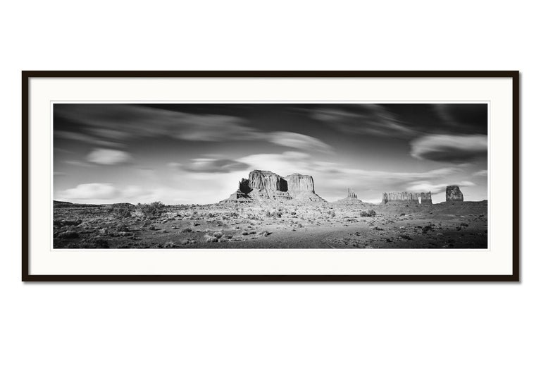 Wild West Panorama, Utah, USA, black & white photography, monument valley prints - Gray Black and White Photograph by Gerald Berghammer