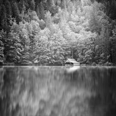 Boathouse at Mountain Lake, Austria,  black and white photography, landscapes