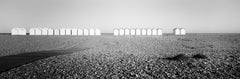 Beach Huts Panorama, Normandie France, minimalist black and white landscapes