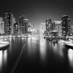 Marina Night, Dubai, superlative port, black and white photography, waterscapes