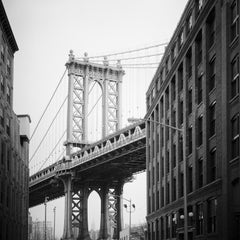 Brooklyn Bridge, New York City, Architecture, contemporary black and white photo