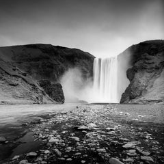 Skogafoss, Waterfall, Iceland, contemporary black and white fine art photography