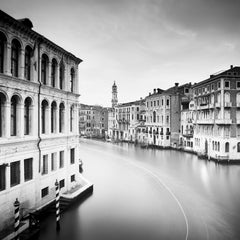 View from Rialto Bridge, Venice, art black and white photography, landscapes