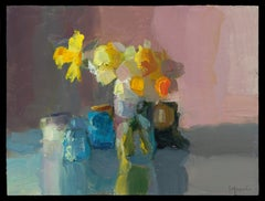 Daffodils with Bottles and Clock