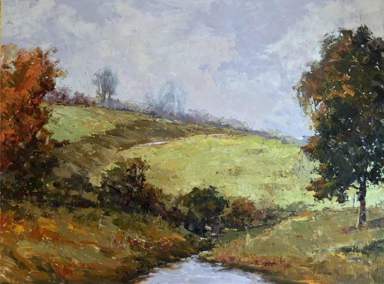 BABBLING BROOKE by John Beard. Landscape, Original and Hand Painted on Canvas For Sale 1