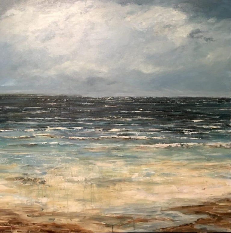 EMERALD SEA by John Beard. Ocean Landscape, Original and Hand Painted on Canvas For Sale 1