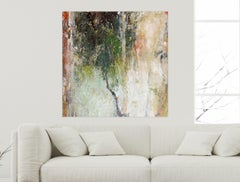 """ABSTRACT TREE, Fine Art with Hand Embellishment on Giclee Canvas: 48""""H x 48""""W"""