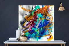 """AGATE, Fine Art with Artist Hand Embellished on Giclee Canvas: 40""""H x 40""""W"""