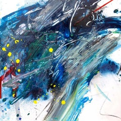 """AMAZONITE, Fine Art with Artist Hand Embellished on Giclee Canvas: 36""""H x 36""""W"""