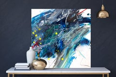 """AMAZONITE, Fine Art with Artist Hand Embellished on Giclee Canvas: 40""""H x 40""""W"""