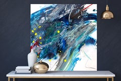"""AMAZONITE, Fine Art with Artist Hand Embellished on Giclee Canvas: 48""""H x 48""""W"""
