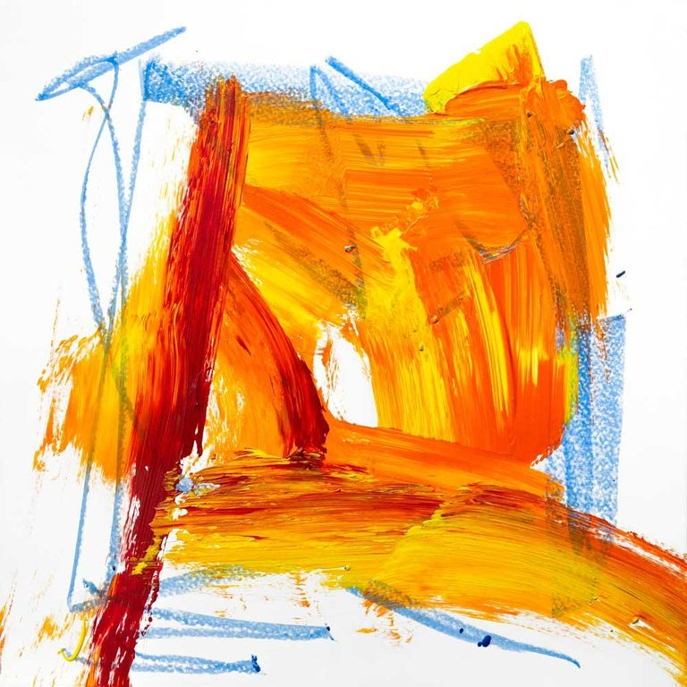 """John Beard Abstract Painting - AMBER, Fine Art with Artist Hand Embellished on Giclee Canvas: 36""""H x 36""""W"""