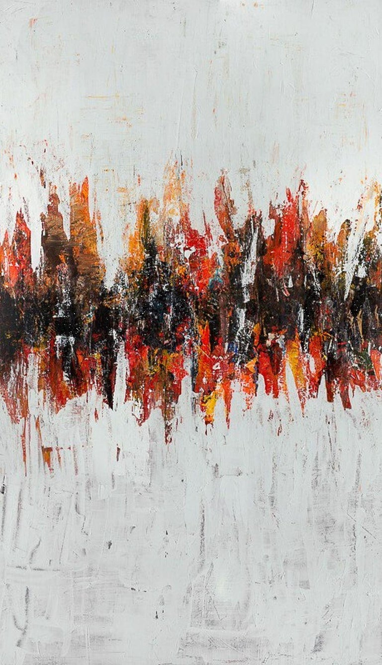 """John Beard Abstract Painting - GATEWAY, Fine Art with Artist Hand Embellished on Giclee Canvas: 96""""H x 48""""W"""