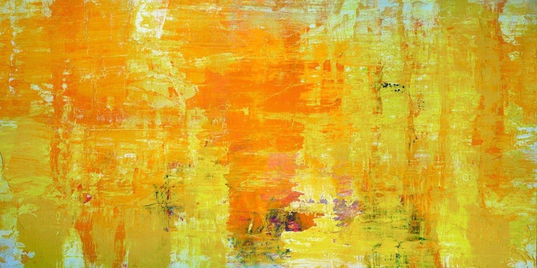 """John Beard Abstract Painting - HAPPY, Fine Art with Artist Hand Embellished on Giclee Canvas: 96""""H x 48""""W"""
