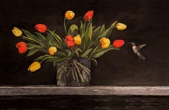 HUMMINGBIRD AND TULIPS, Fine Art with Artist Hand Embellished on Giclee Canvas