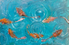 "KOI POND, Fine Art with Artist Hand Embellished on Giclee Canvas: 36""H x 48""W"
