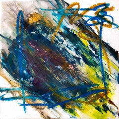 "PEACOCK ORE, Contemporary Hodgepodge Fine Art on Giclee Canvas: 36""H x 36""W"