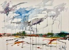 """PURPLE RAIN, Contemporary Watercolor Style Fine Art on Giclee Canvas 60""""H x 40""""W"""