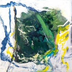 """PYRITE, Contemporary Green Blue Mix Paint Fine Art on Giclee Canvas: 24""""H x 24""""W"""