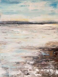 "SANDBAR, Contemporary Landscape of Beach Fine Art on Giclee Canvas: 60""H x 40""W"