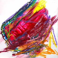 "RUBY, Contemporary Red Orange Abstract Fine Art on Giclee Canvas: 24""H x 24""W"