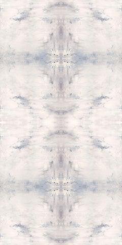 "SKYHAWK, Contemporary White Silver Geode Fine Art on Giclee Canvas: 72""H x 36""W"