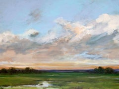"SOLACE I, Contemporary Sunset Landscape Fine Art on Giclee Canvas: 48""H x 36""W"