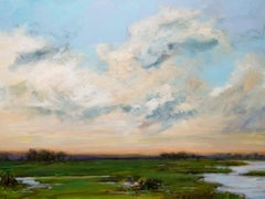 "SOLACE II, Contemporary Sunset Landscape Fine Art on Giclee Canvas: 48""H x 36""W"
