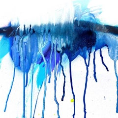 "STALACTITE, Contemporary Blue and White Fine Art on Giclee Canvas: 40""H x 40""W"