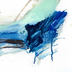 "STALAGMITE, Contemporary Blue and White Fine Art on Giclee Canvas: 24""H x 24""W"