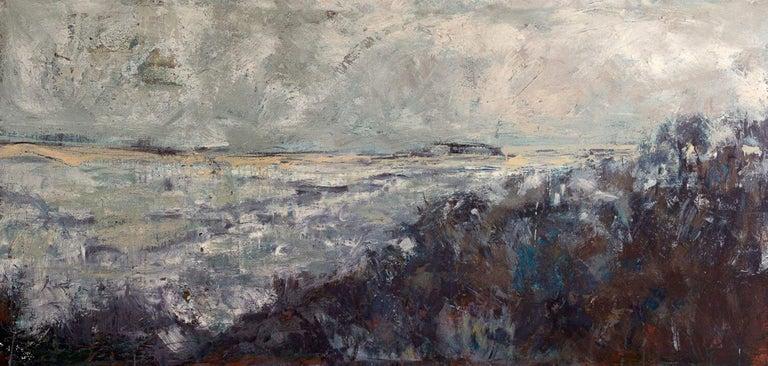 "John Beard Landscape Painting - STORMY, Contemporary Nautical Beach Fine Art on Giclee Canvas: 72""H x 36""W"