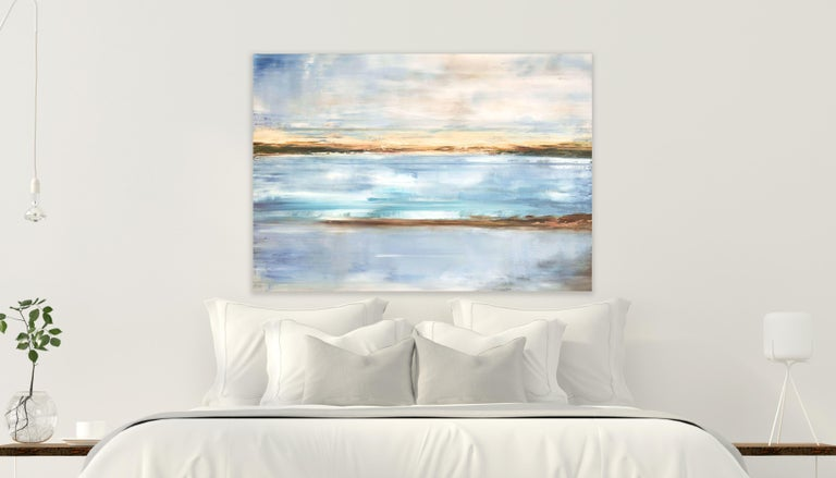CRYSTAL BLUE by John Beard. Landscape Art, Original and Hand Painted on Canvas For Sale 1