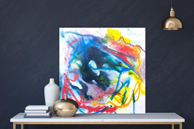 AZURITE Fine Art with Artist Hand Embellished on Giclee Canvas and Made to Order - Abstract Painting by John Beard