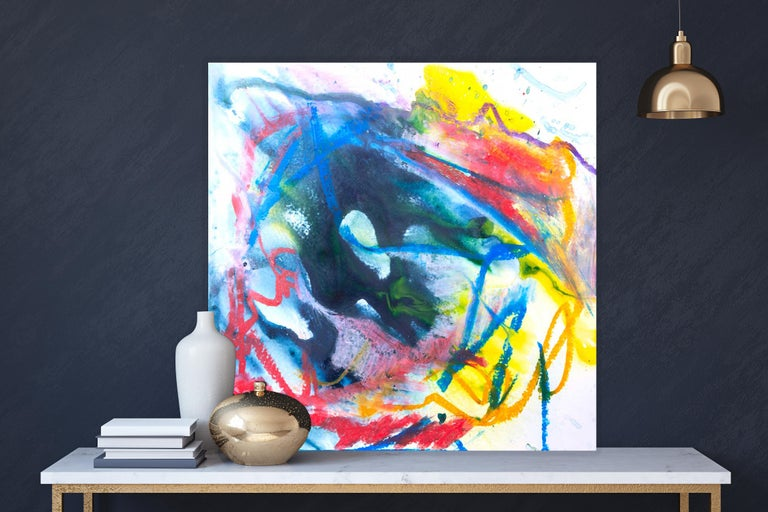 AZURITE Fine Art with Artist Hand Embellished on Giclee Canvas and Made to Order - Beige Abstract Painting by John Beard