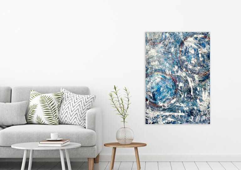 BIG BLUE, Fine Art with Artist Hand Embellished on Giclee Canvas Made to Order - Painting by John Beard