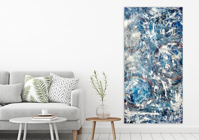 BIG BLUE, Fine Art with Artist Hand Embellished on Giclee Canvas Made to Order - Abstract Painting by John Beard