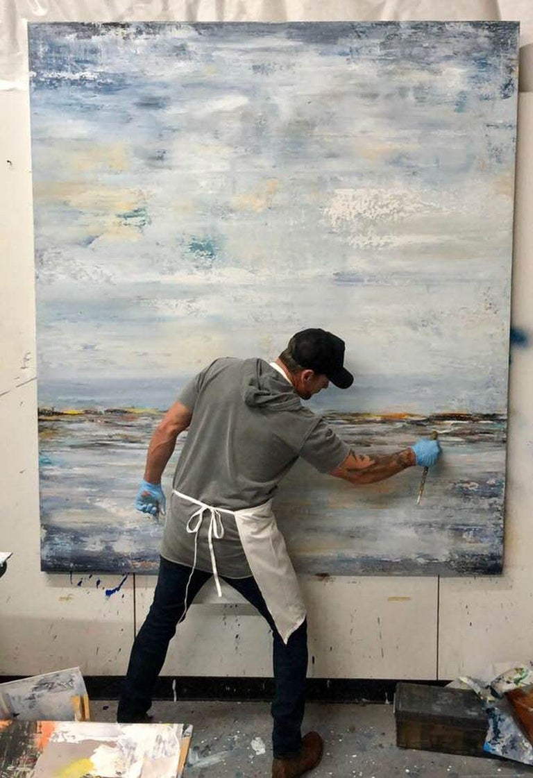 BIG BLUE, Fine Art with Artist Hand Embellished on Giclee Canvas Made to Order - Gray Interior Painting by John Beard