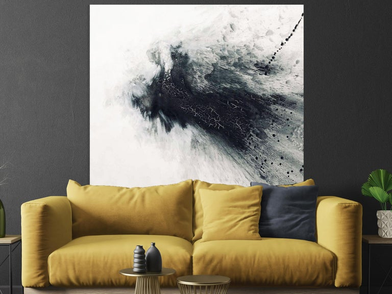 BLACK & GRAY IV, Fine Art with Hand Embellishment on Giclee Canvas Made to Order - Abstract Painting by John Beard