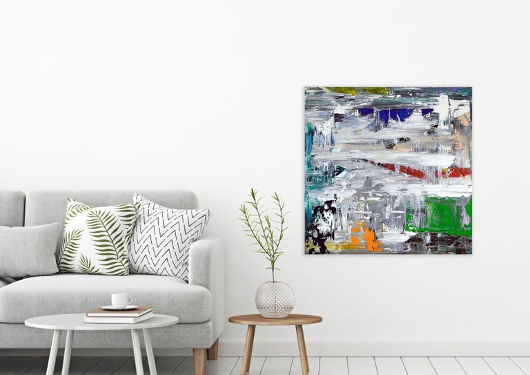 COLORE TRIBUTO I, Fine Art with Artist Hand Embellished on Giclee Canvas: 36x36 For Sale 1