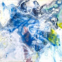 """ROSE QUARTZ, Contemporary Blue Abstract Fine Art on Giclee Canvas: 40""""H x 40""""W"""