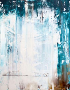 "SALIRE, Contemporary Blue White Cascading Fine Art on Giclee Canvas: 60""H x 40""W"
